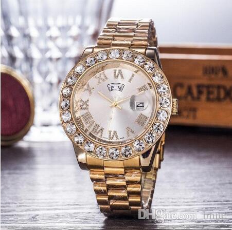 Gold Watch Watches Steel Brand Boyfriend смотреть наручные часы мужчины кварцевый человек черный алмаз мода из нержавеющей часы подарок A1 оптом qblkq