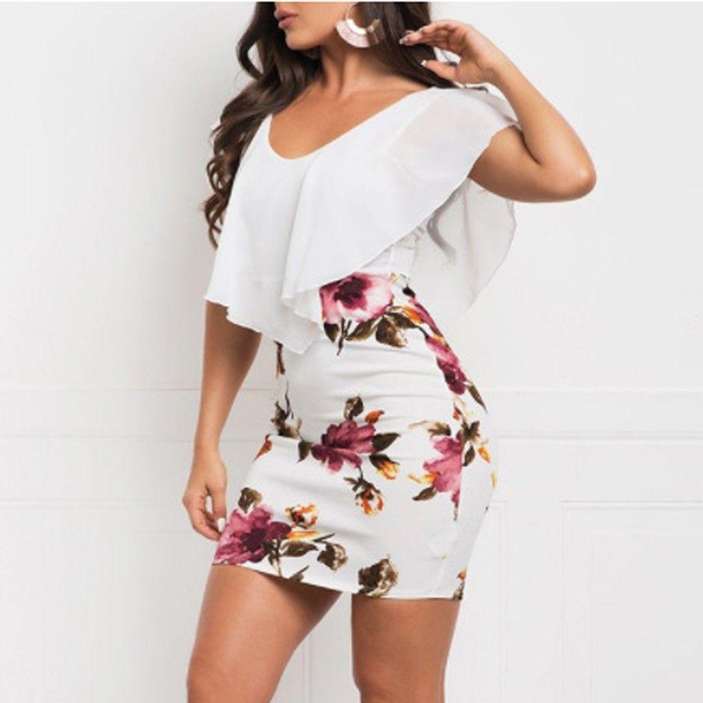 Mode sommer boho gedruckt kurze mini dress sexy urlaub bodycon casual arbeit dress frauen abend party dress vestido de festa
