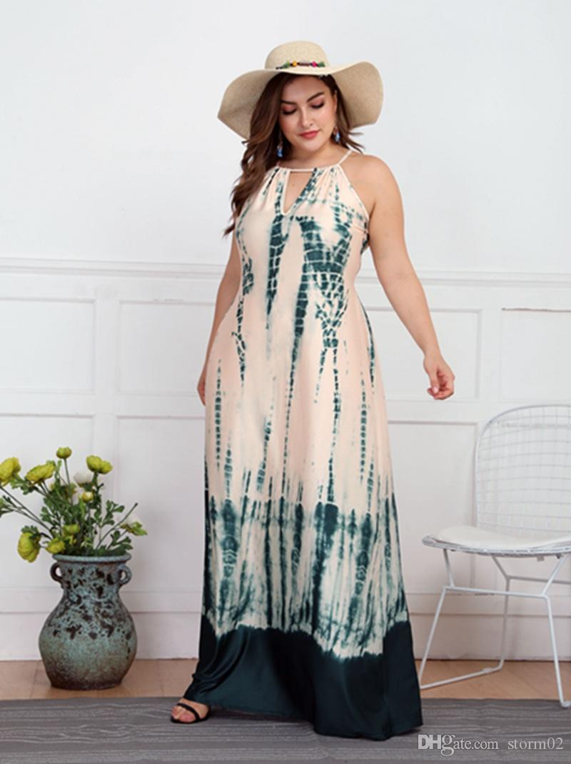 19SS European and American style designer sleeveless waistcoat long skirt new dress XL-4XL