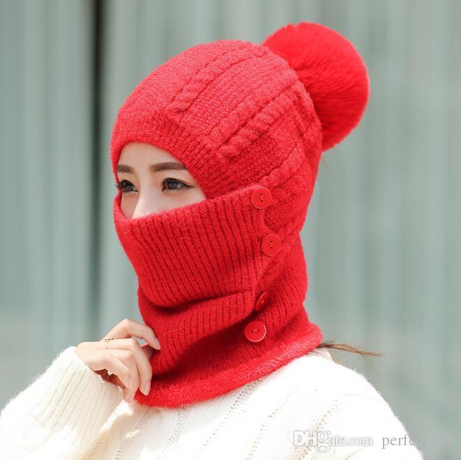 Babero siameses damas sombrero Corea versión de la corriente cálida de una sola pieza del invierno del sombrero al aire libre más el sombrero de lana de punto de terciopelo de las mujeres