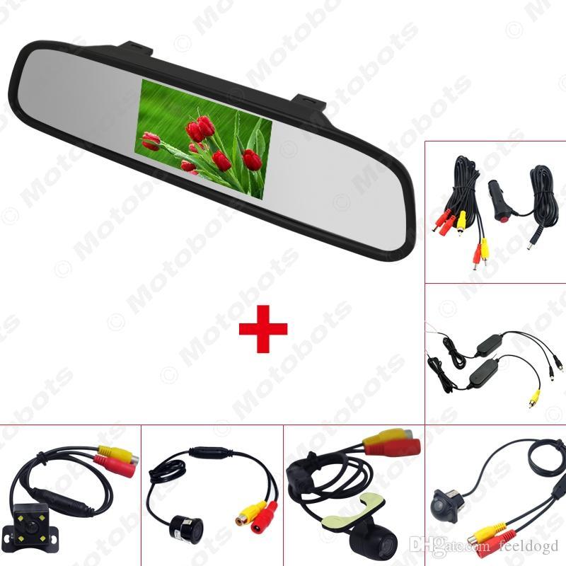 الجملة سيارة 4.3 مرآة الرؤية الخلفية مراقب مع الرؤية الخلفية وقوف السيارات النسخ الاحتياطي كاميرا فيديو نظام 2.4G ولاعة السجائر اللاسلكية اختياري # 3888