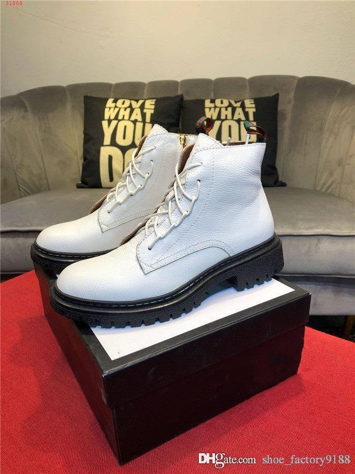 kutunun 38-44 ile erkekler Siyah ve kalın taban ve düşük topuk Martin botları ile beyaz deri bağcıklı yarım bot için Sonbahar kış deri çizme,