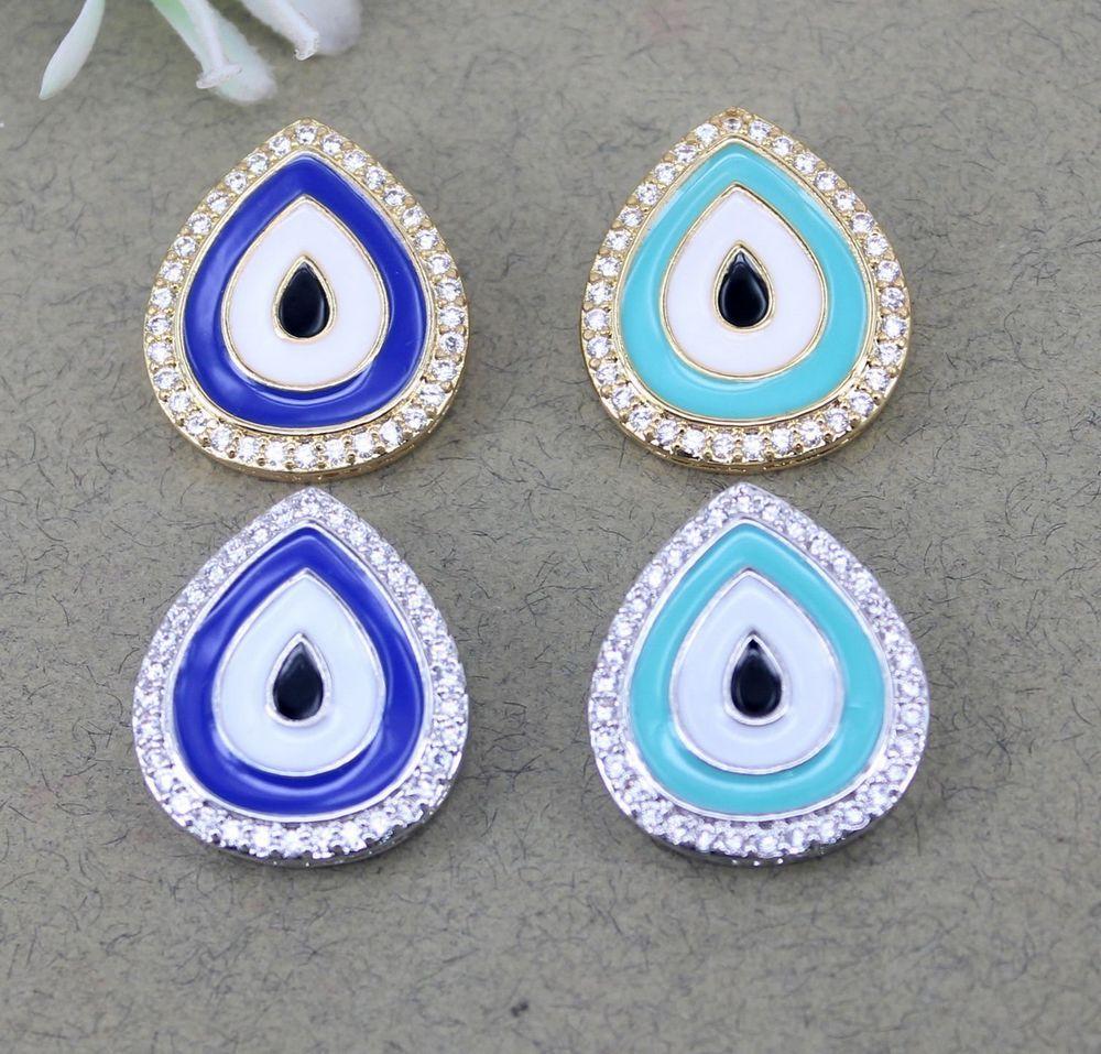 10 stücke Metall Kupfer Micro Pave Evil Eye anschluss Perlen, CZ Tropfen perlen Für Schmuck Machen