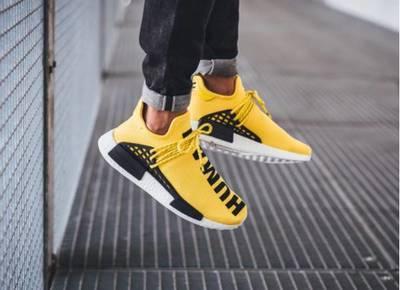 Chaussures casual sentier Hu Race humaine gros Hommes Femmes Pharrell Williams jaune noble coeur d'encre Noir Rouge Chaussure grande Euro 36-47