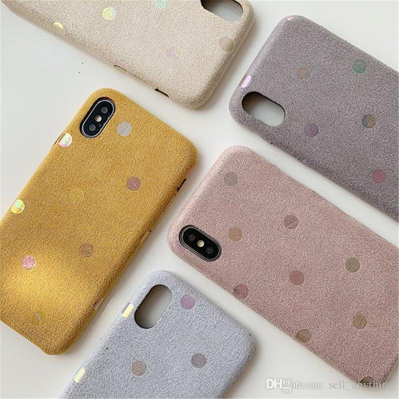 For Iphone Xs Max Xr Phone Case Simple Wave Point Frosted Plush 6 7 8 X Plus Autumn Microfiber Leather Cell Phone Cases