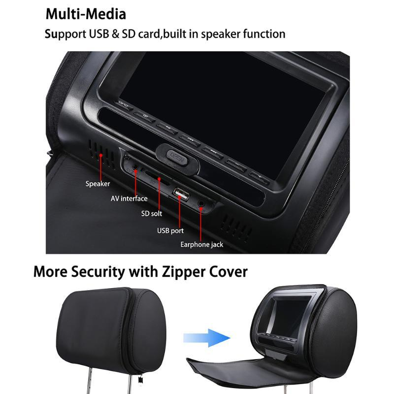 7 Inch Zipper Cover Speaker USB Video HD Infrared Game Multifunction LCD Screen DVD Player Monitor Adjustable Car Headrest