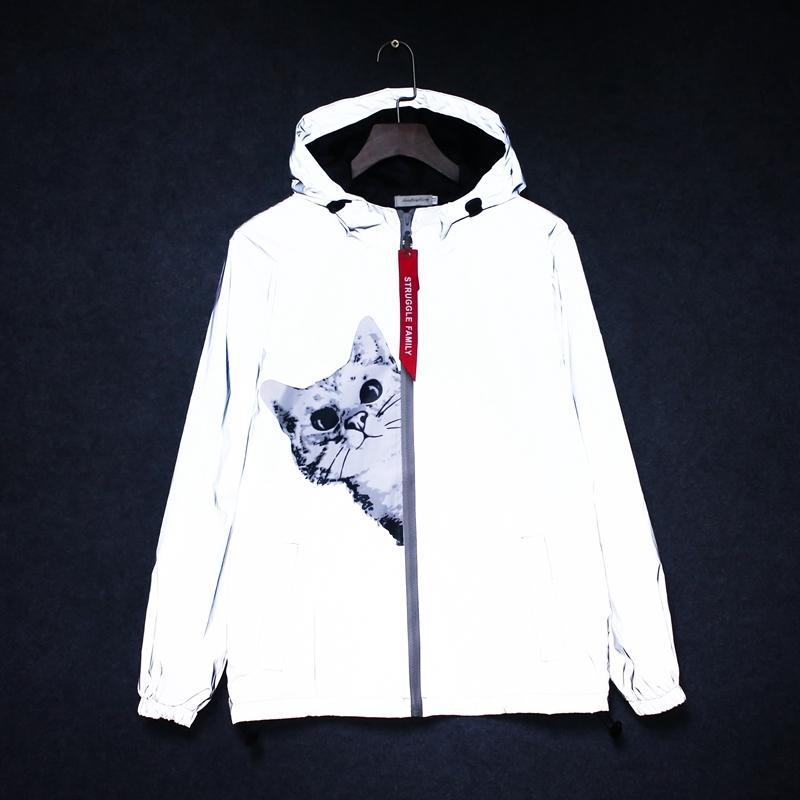 новый мужской 3 м светоотражающая куртка кошка хип-хоп забавный карман с капюшоном водонепроницаемый Мужчины Женщины уличная ветровка куртки Homme пальто