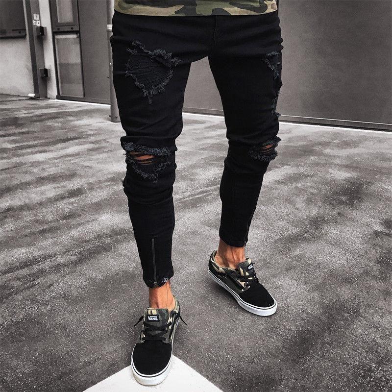 2019 Nova Moda Homens Ripped Skinny Jeans Destruído desgastado Slim Fit Denim Pant Casual Men Slim Buraco Zipper Balck Calças Jeans