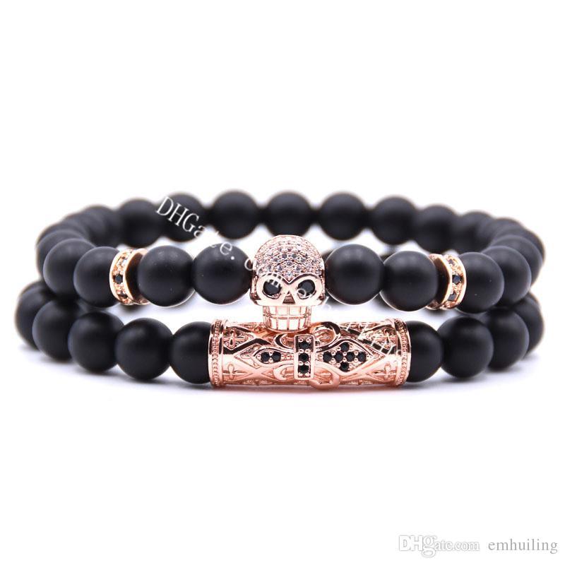 Bracelet extensible élégant 8mm naturel Mala noir perlé Onyx Cubic Zircone Micro Pavé Crâne Tube Incurvé Entrelaceur Bracelet à Breloques