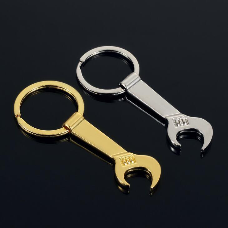 frete grátis 8,5 * 3,2 centímetros ferramenta de metal Wrench Spanner Lever abridor de garrafas Chaveiro Chaveiro presente de prata Gold 2 cores LX2184