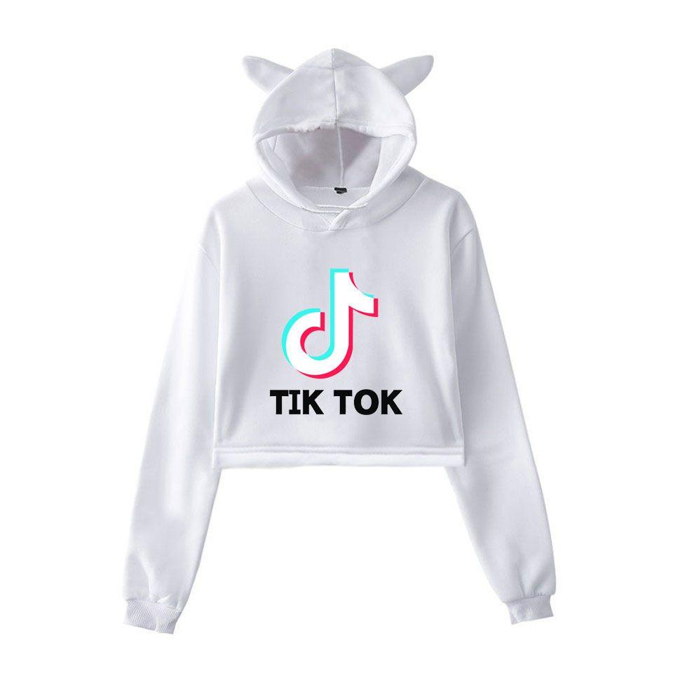 2020 TIK Tok Me Contro Te Hoodie Cat Ear Cap Sweater Exposed Navel ...