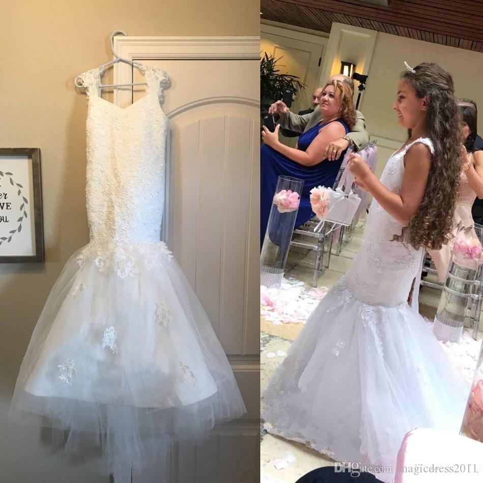 Yeni Beyaz Mermaid Çiçek Kız Elbise Düğün Spagetti Sweep Tren Kız Pageant Elbise ilk komünyonu törenlerinde İçin