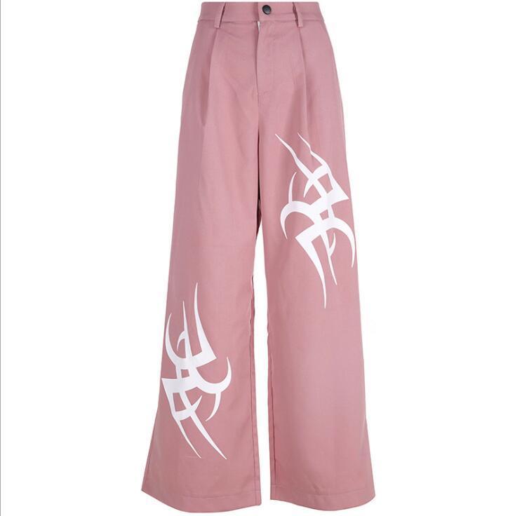 Женские брюки CAPRIS MOP асимметричная печать Slim Casual широкая нога