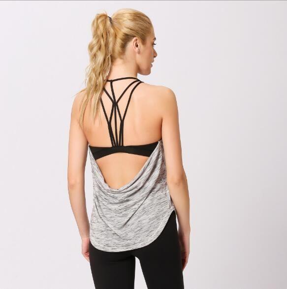 New sexy beauty back yoga vest sports fitness vest fake two-piece sports yoga bra vest fashion pop sexy