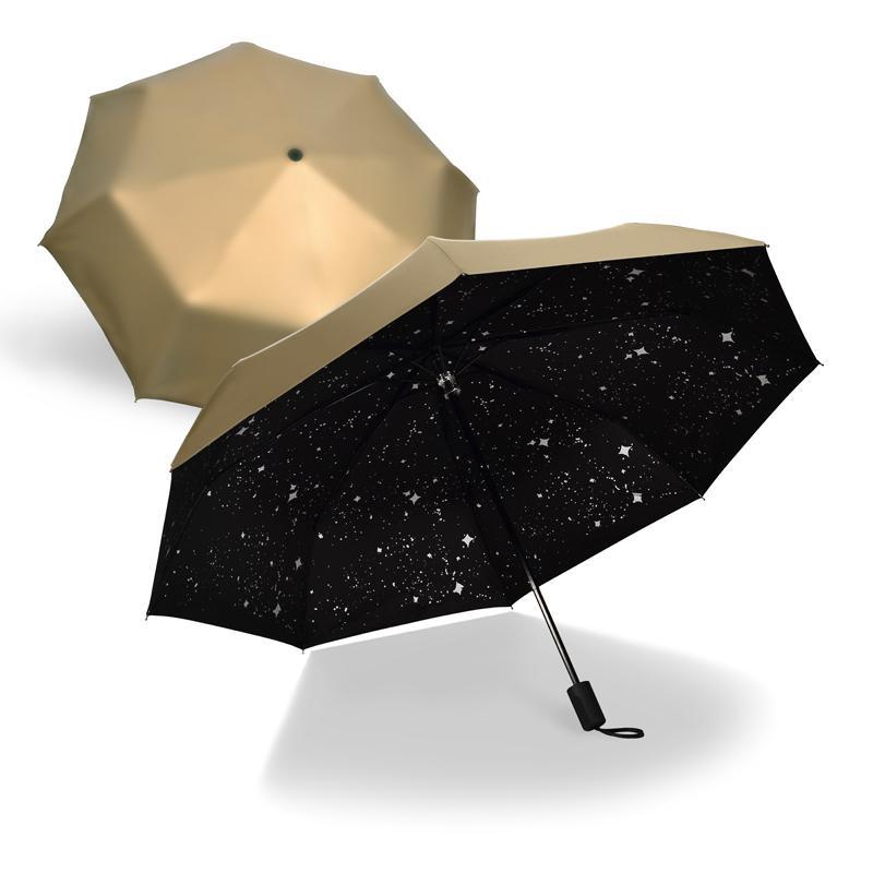 Fashion Black Stars Women Umbrella Three Fold Wind Resistant Anti Uv Sun Umbrella Sunny And Rainy Dual-use Male Parasol T8190619