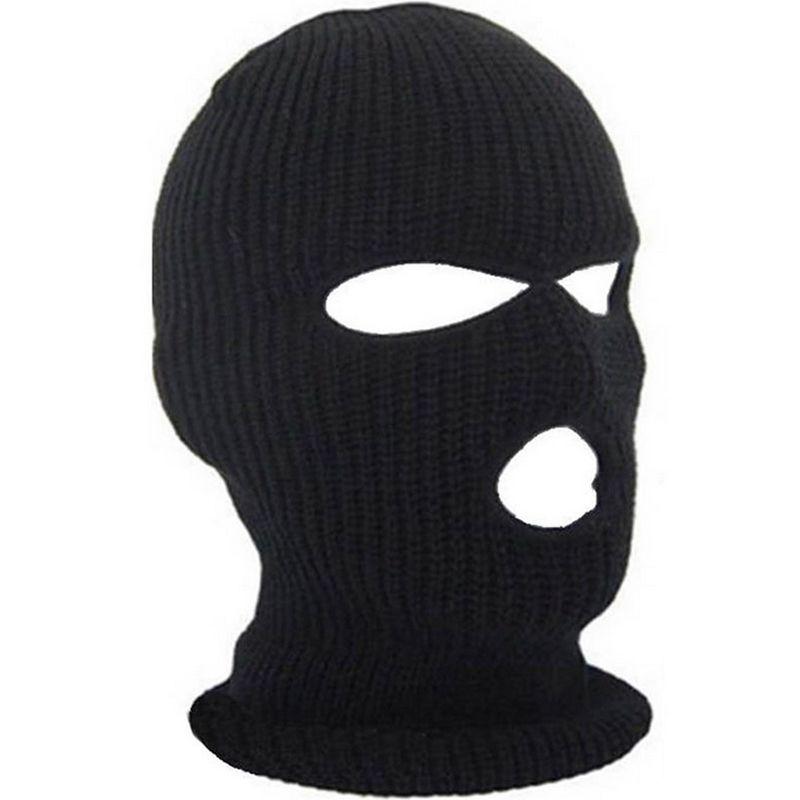 Full Face Cover Mask Três 3 Balaclava Balaclava Chapéu de Inverno Estiramento de Neve Beanie Beanie Chapéu New Black Warm face máscaras