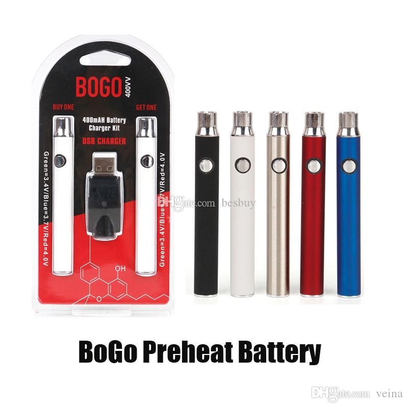 BOGO LO Preheat VV Vape Battery 400mAh Double Pen USB Charger Blister Pack Kit For CE3 510 Thread Thick Oil Cartridge Tank Wholesale