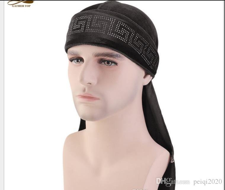 New Velvet Pirate Hats Hair Bonnet With Long Tail hip hop Hats Cycling Caps For Adult Mens And Women Sport Hip Hop