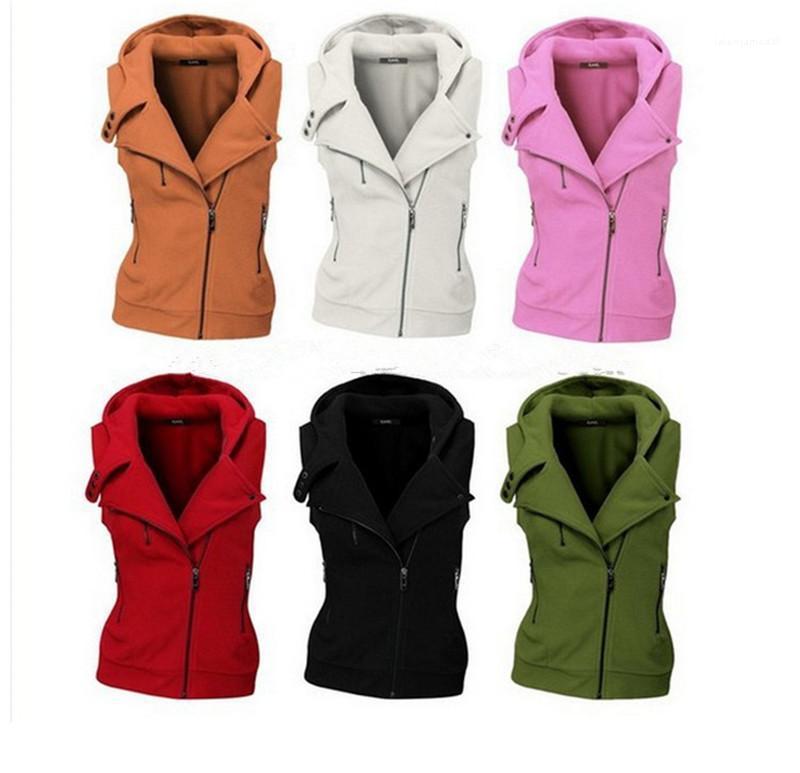 겉옷 여성 겨울 인기 새로운 스타일 코트 여성 패션 디자이너 조끼 지퍼 여성 순수한 컬러 정기
