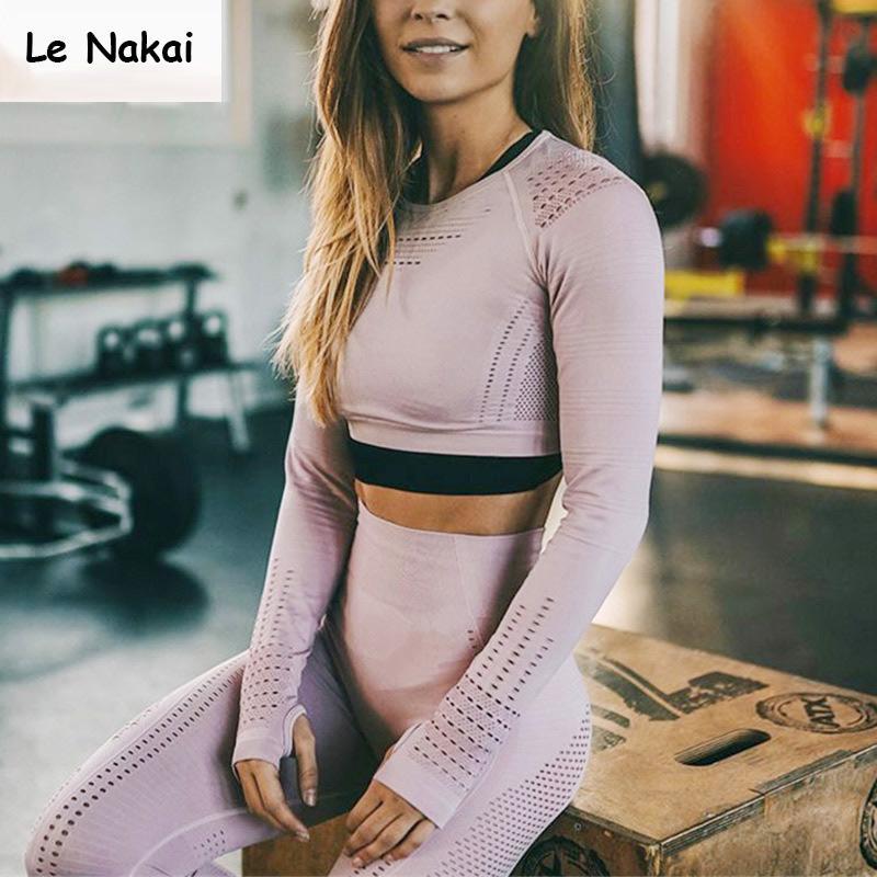 2 pièce vêtements d'entraînement pour les femmes sans soudure yoga mis séance d'entraînement gym vêtements fitness costume sport manches longues gym set SH190829