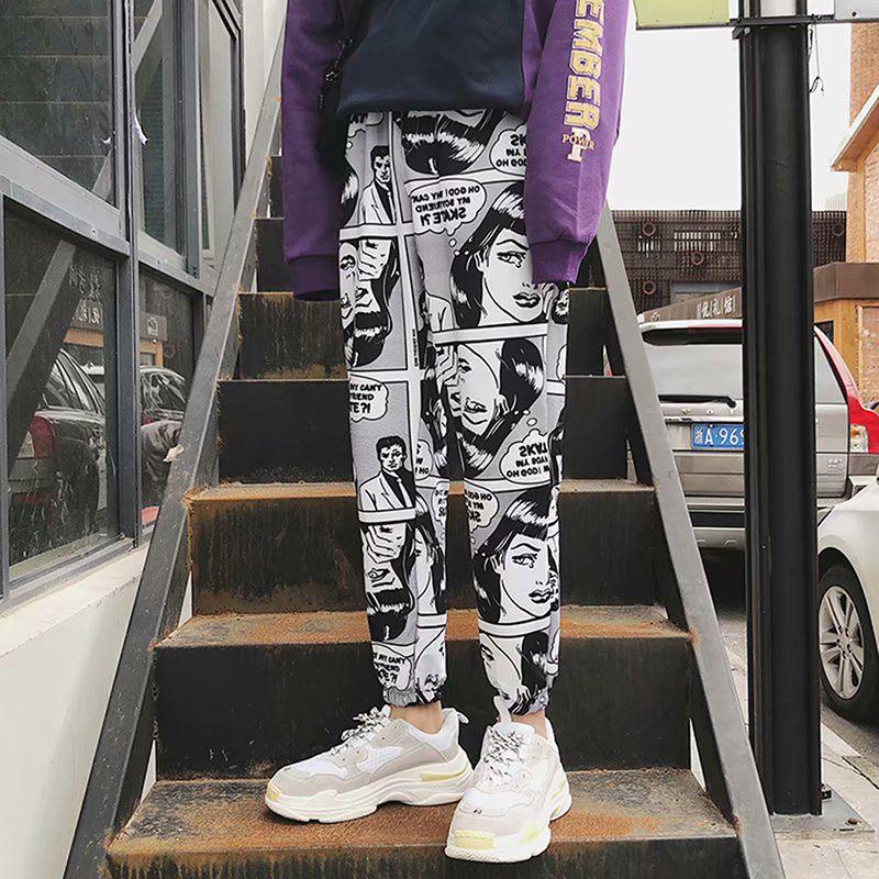 Новые свободные спортивные повседневные брюки Женские балочные ноги шаровары печатные бегуны мужские хип-хоп повседневные брюки