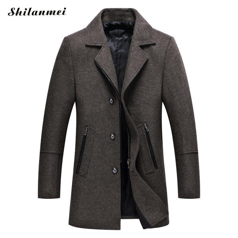 Laine d'hiver Vestes Hommes Casual Col Slim Homme Lapel long simple boutonnage épais Solide Couleur de haute qualité urbaine Manteau en laine Blend