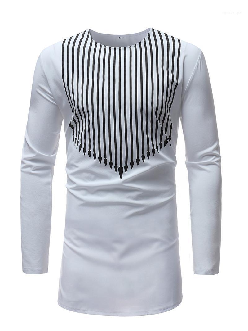 Rayó Impreso Pullover camiseta para hombre ocasional otoño tapas flojas de diseño para hombre camisetas