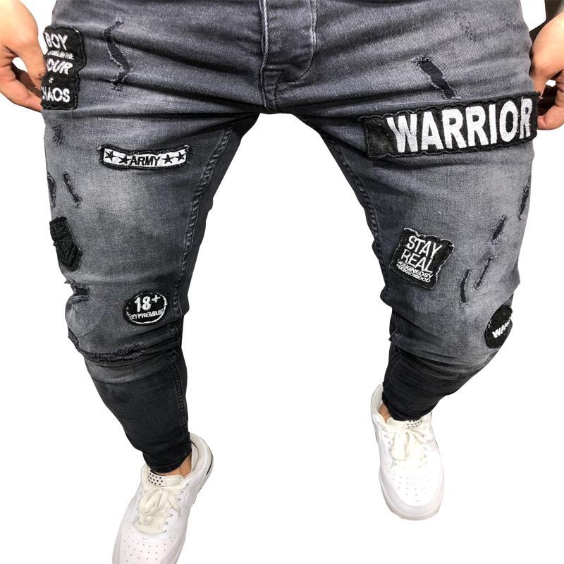 2019 jeans da uomo con foro da uomo slim Jeans hip-hop da uomo pantaloni comodi di alta qualità da uomo di alta qualità pantaloni confortevoli da uomo biker