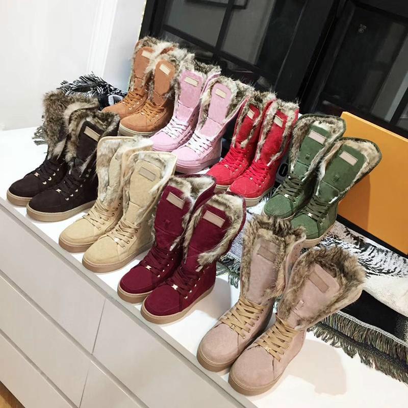 Kadınlar Boots Kış Kar Boots Süet Gerçek Kürk Slaytlar Deri Su geçirmez Kış Sıcak Diz Yüksek Boots Marka Moda Lüks Tasarımcı Kadın Ayakkabı