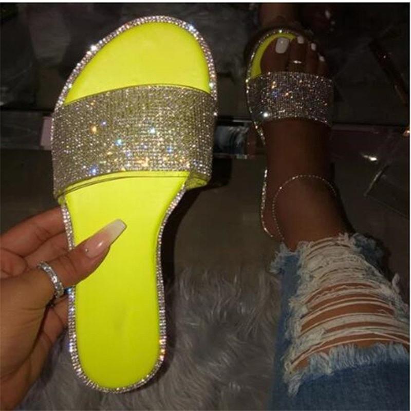 COOTELILI pistoni di estate Donne diapositive Sandali piatti donna causale delle donne Scarpe: sui diamanti scarpe femminili di moda Pantofole