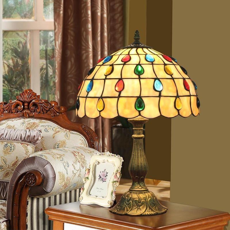 stile mediterraneo lampada da letto studio lampada da comodino europea cafe bar arte Tiffany barocca lampada da tavolo lampade decorative luce notturna