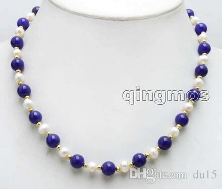 Женщины подарок слово любовь женщин мода продажа 6-7 мм белый натуральный пресноводный жемчуг 8 мм круглый синий GEM 17 '' ожерелье -nec604