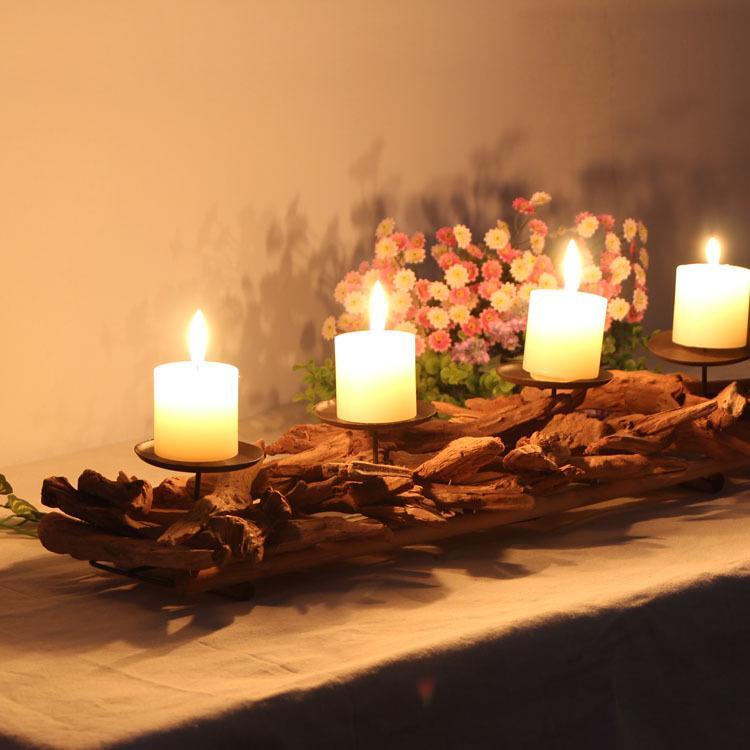 Antique Castiçal de madeira Home Decor Candle Holder Casamentos Castiçal criativa Vela Madeira Vintage Levante Velinha Y200109