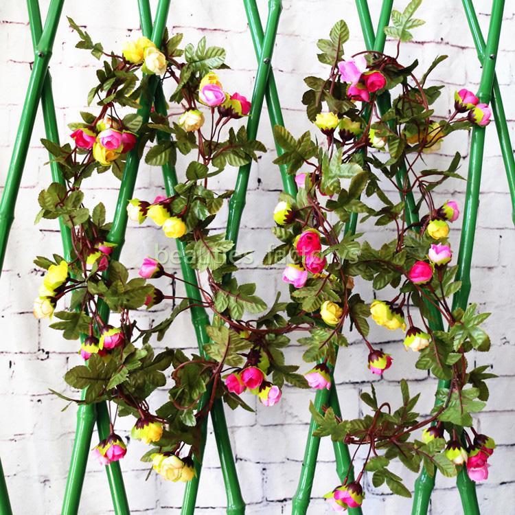 2 개 귀여운 인공 가짜 실크 장미 꽃 매달려 화환 정원 웨딩 장식 홈 장식 2.2 메터 (7 피트)