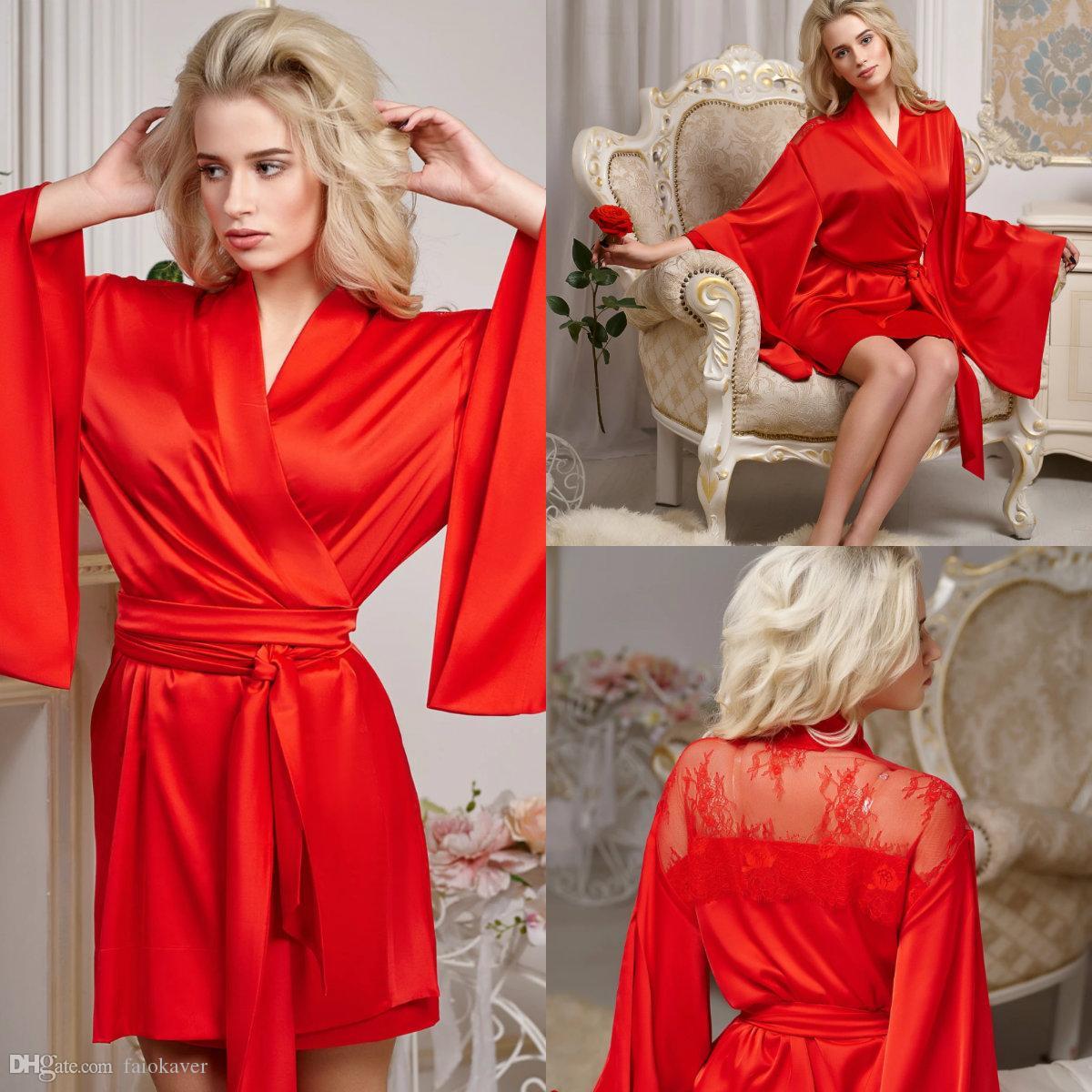 2020 الحرير الحرير قصيرة أثواب حمام للمرأة الأحمر الرباط خط ملابس للنوم ليلة رداء حمام زفاف العروس ثوب الجلباب خلع الملابس البيجامة