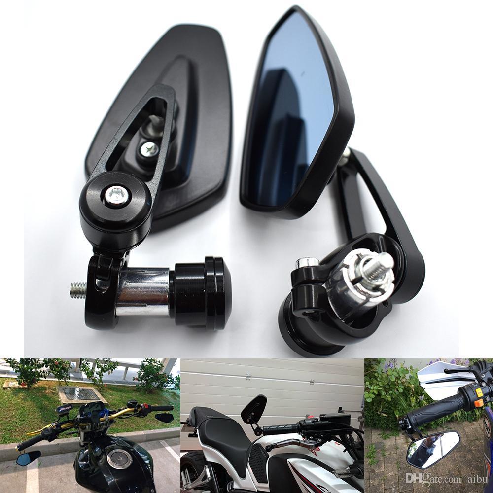 "Universal Motorcycle Motor-bike Rear-view Mirror 7//8/"" Handle Bar End for honda"