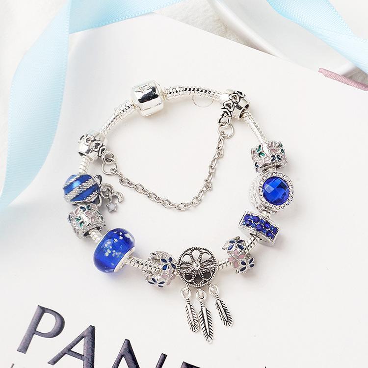 925 argent en forme pour pandor bracelet Charms bleu perles de cristal Accessoires de bricolage mariage cadeau bijoux boîte pas pour fille de Noël