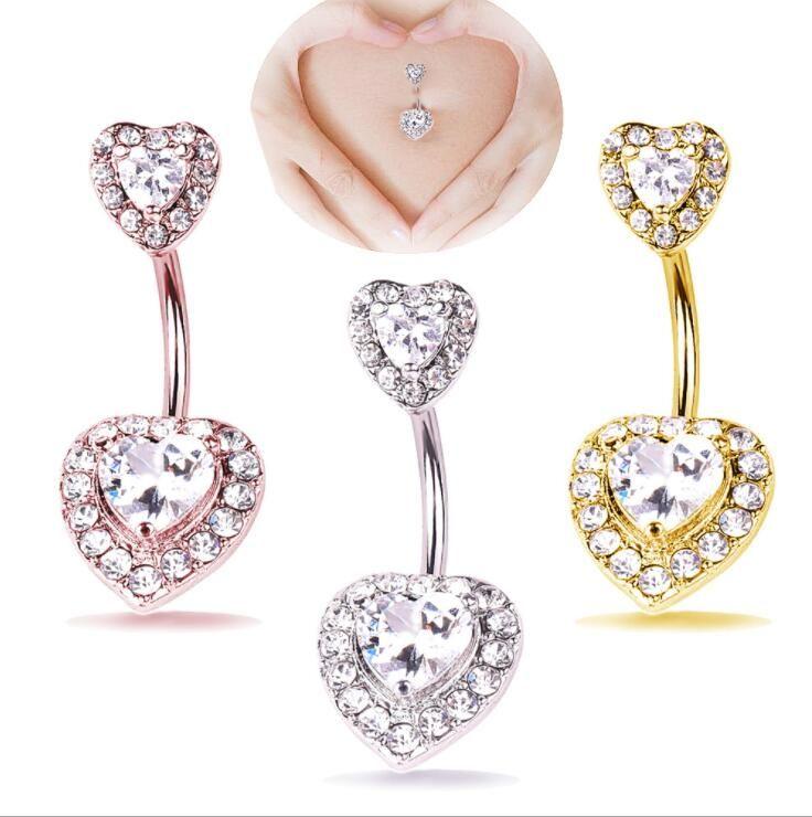 2 x Love Heart Belly Button Bar Navel Dangles Bulk Pack Body Piercing Jewellery