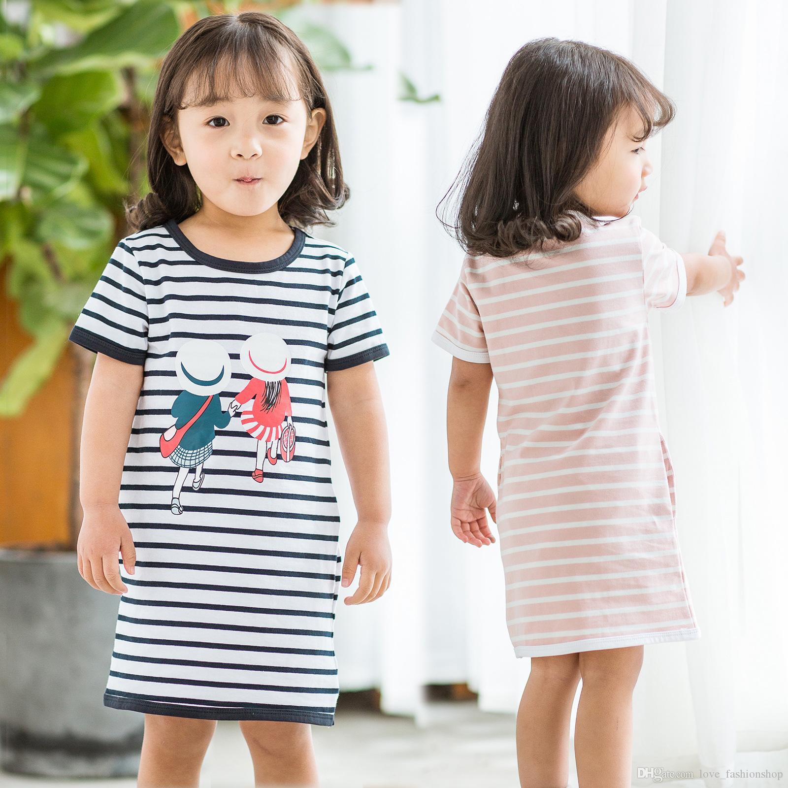 Vendita al dettaglio di neonate senza maniche stampato abito a righe neonato estate fumetto dritto abiti casual in cotone per bambine abbigliamento bambini boutique