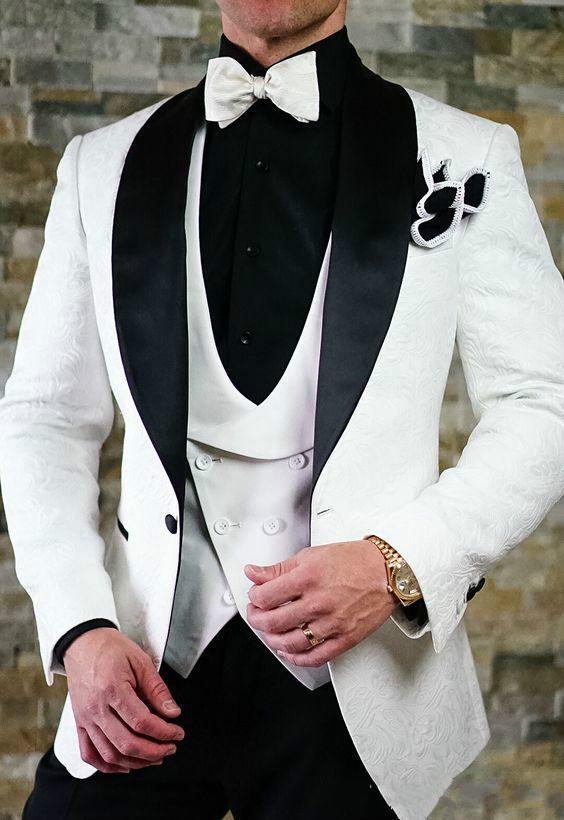 Populaire Blanc Jacquard Hommes Costume Blazer Slim Fit 3 Pièces Châle Veste Pantalon noir Lapel Prom Vintage mariage Smokings (veste + pantalon + Gilet)