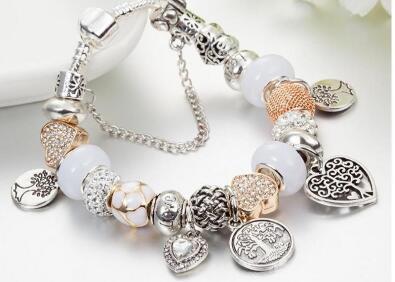 Pulsera de cuentas de la moda clásica encanto para PANDORA Platinum DIY bolas colgante de la vida Árbol Señora Pulsera con el original de la caja de regalo de cumpleaños