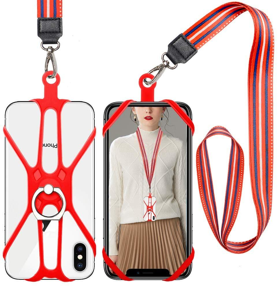 Cell Phone Lanyard Holder, 2 in 1 Phone Lanyard & Card Necklace Phone Holder with Ring Stand Compatible with iPhone, Samsung and Smartphone