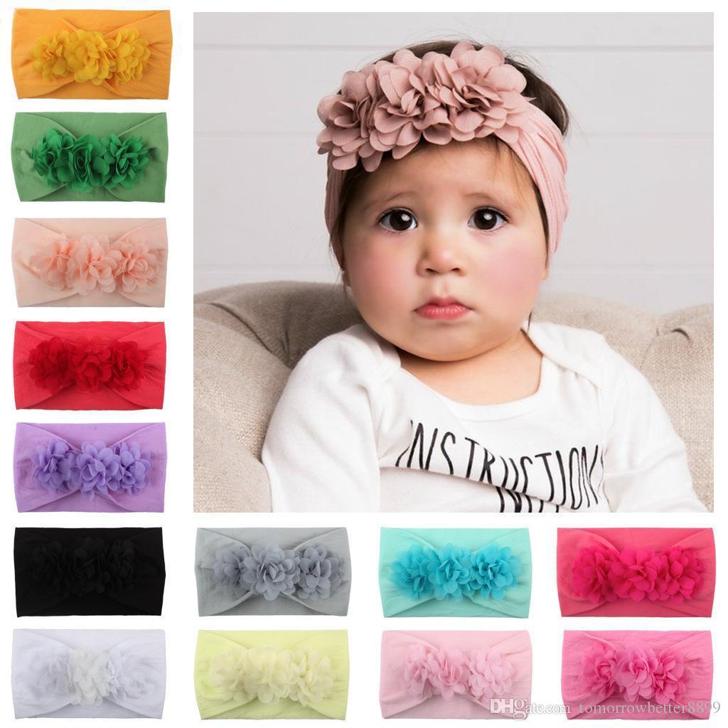 Горячие продажи детские девушки повязки шифон цветок супер мягкий нейлон hairband детские ювелирные изделия милый Принцесса аксессуары для волос фото реквизит