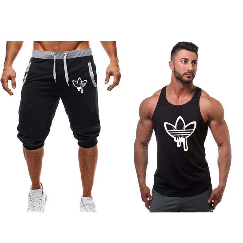 2019 мода новый спортивный костюм мужчины из двух частей короткие брюки + майка лето крутые кофты костюм мужской Chandal Hombre Jogging Homme костюм