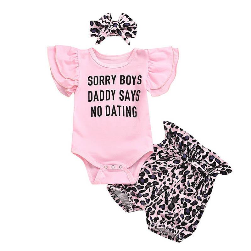 Ins 2020 Summer leopard print dresses cute baby girls suits rompers+shorts + bows headband 3pcs / set baby girl clothes B797