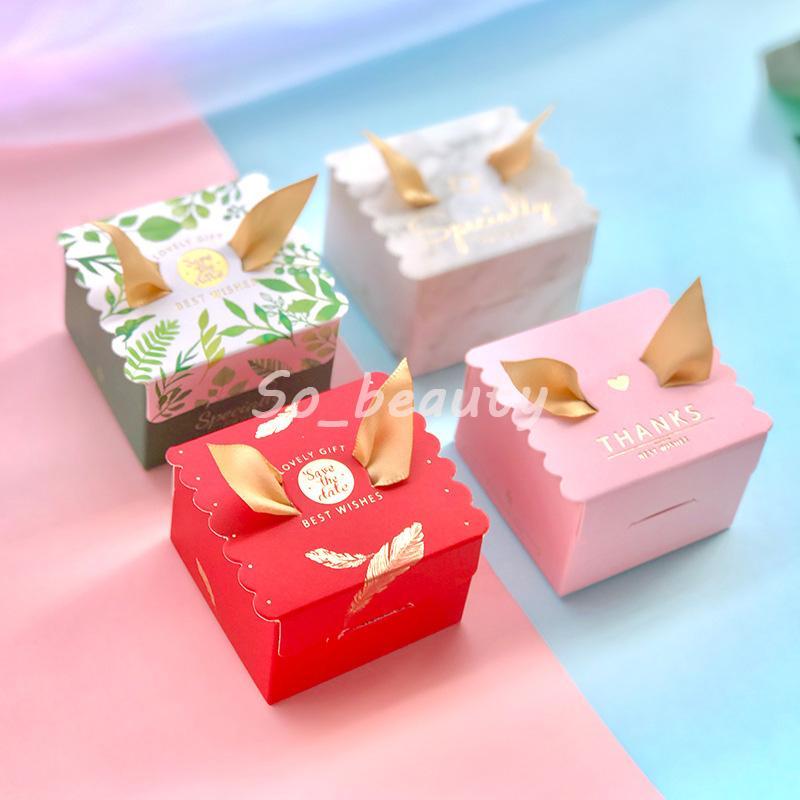100 pcs Caixas de doces bonitos com fita de casamento fita festa de bebê festa de presente caixa de presente multi cores