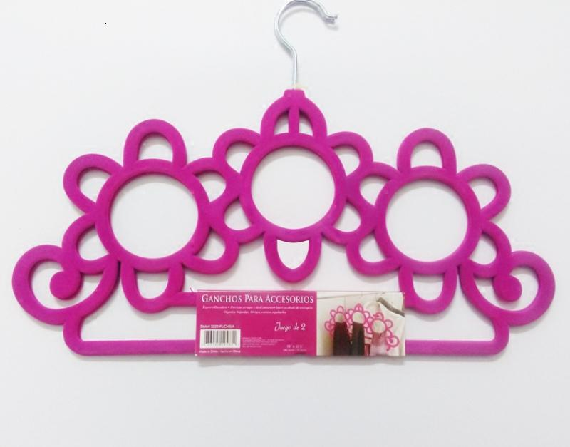 New Arrival ABS Velvet Hanger for Scarf Ties Belts Jewelry Accessories Hats Colorful Flocking Hangers Home Office Shop Storage Racks