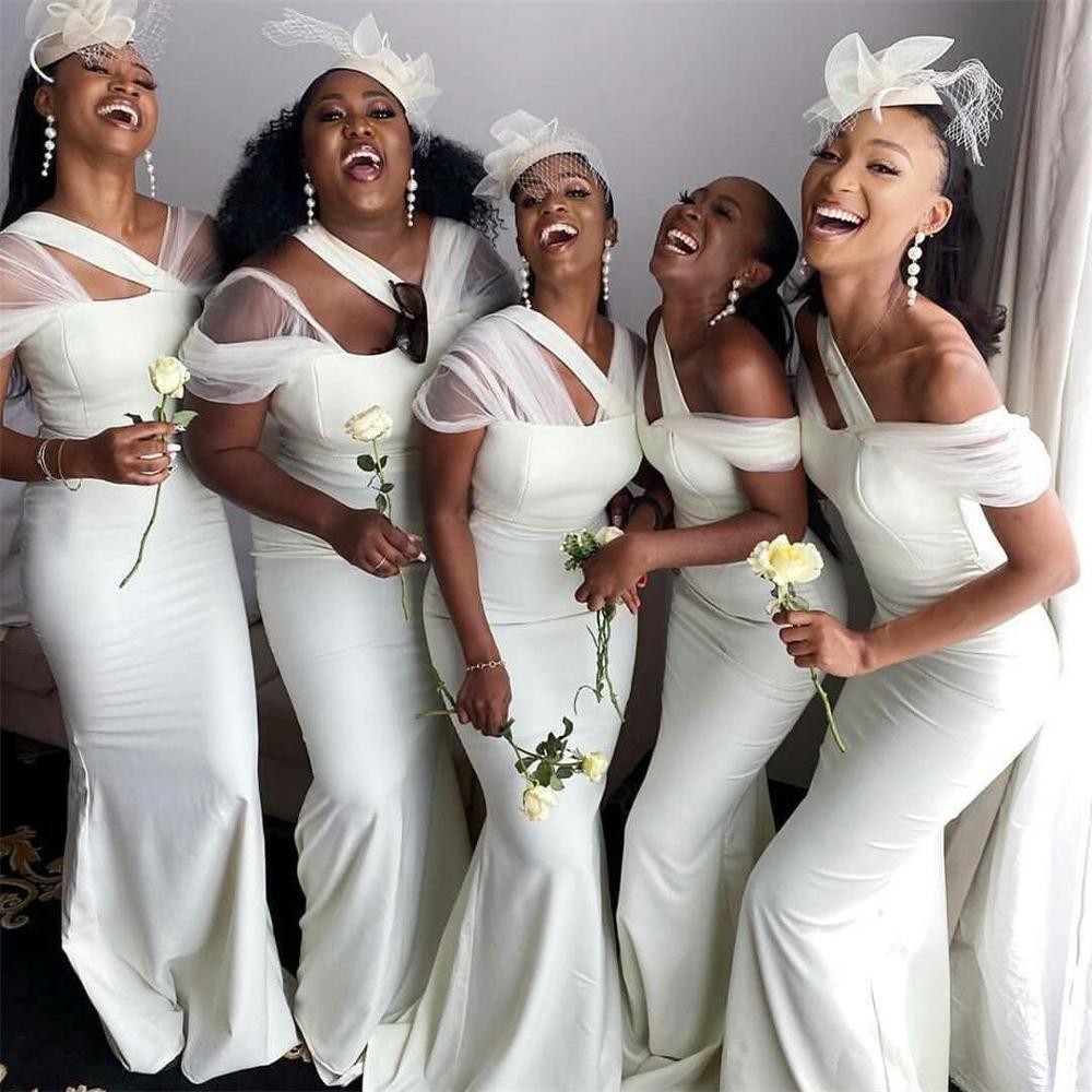 2021 Artı Boyutu Mermaid Nedime Elbiseleri Benzersiz Sırf Sapanları Onur Törenlerinde Sıralamalar Saten Hizmetçi Onur Düğün Konuk Elbise