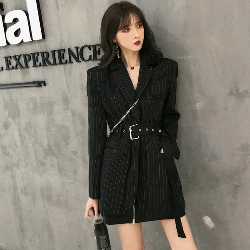 Fashion Striped Sashes Female Blazer Notched Full Sleeve Black Woemn Jacket Autumn Loose Suit Streetwear 2018 High Quality Y200107
