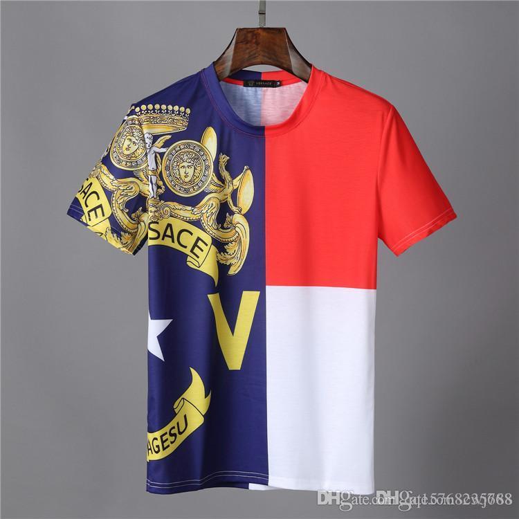 shirts e calções de design de luxo 2.019 verão T-shirt 100% T-shirt branco da forma impressão dos homens de qualidade chegada top desconto